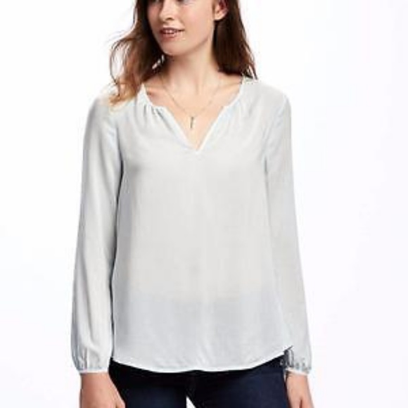 Old Navy Tops - Old Navy Light Blue Peasant Top Blouse
